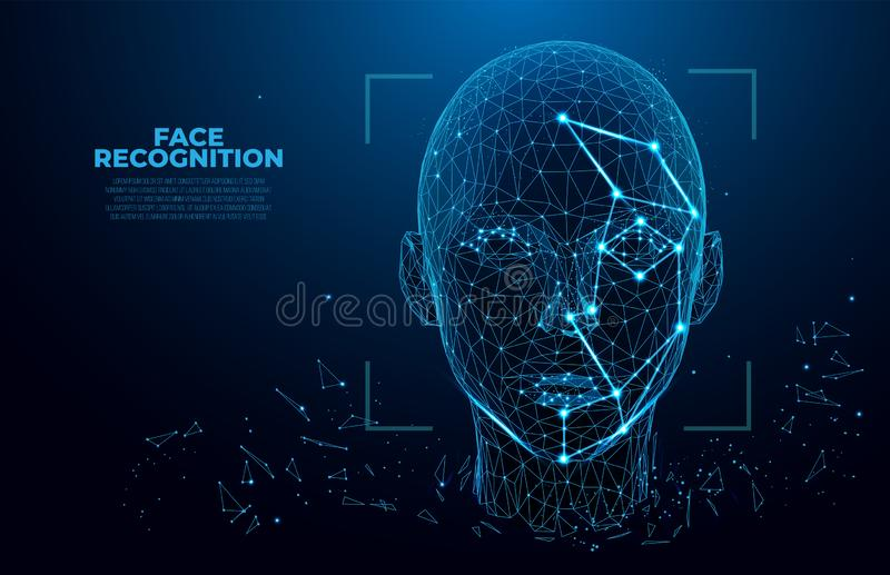 Facial Recognition System concept. Face Recognition. 3D scanning. Face ID. vector wireframe concept. biometric scanning. Facial Recognition System concept. Face vector illustration
