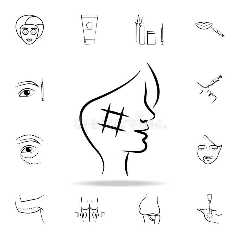 Facial rejuvenation surgery icon. Detailed set of anti-aging procedure icons. Premium graphic design. One of the collection icons. For websites, web design royalty free illustration
