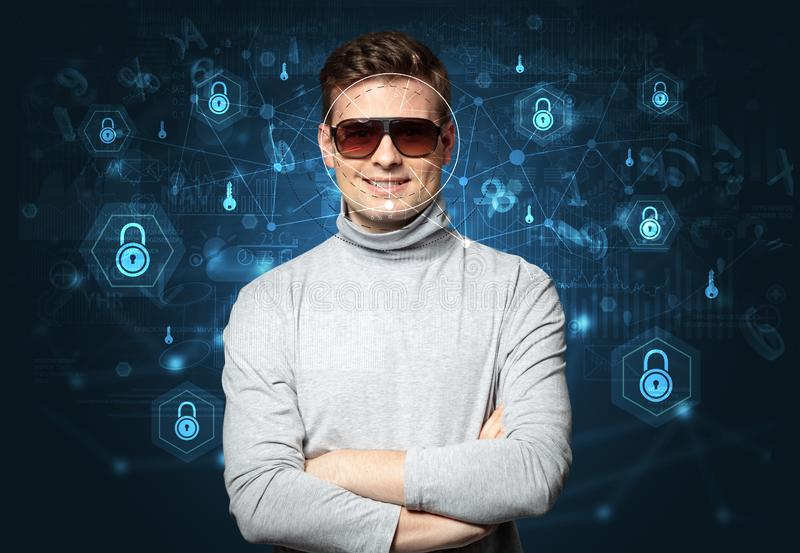 Facial security recognition concept royalty free stock images