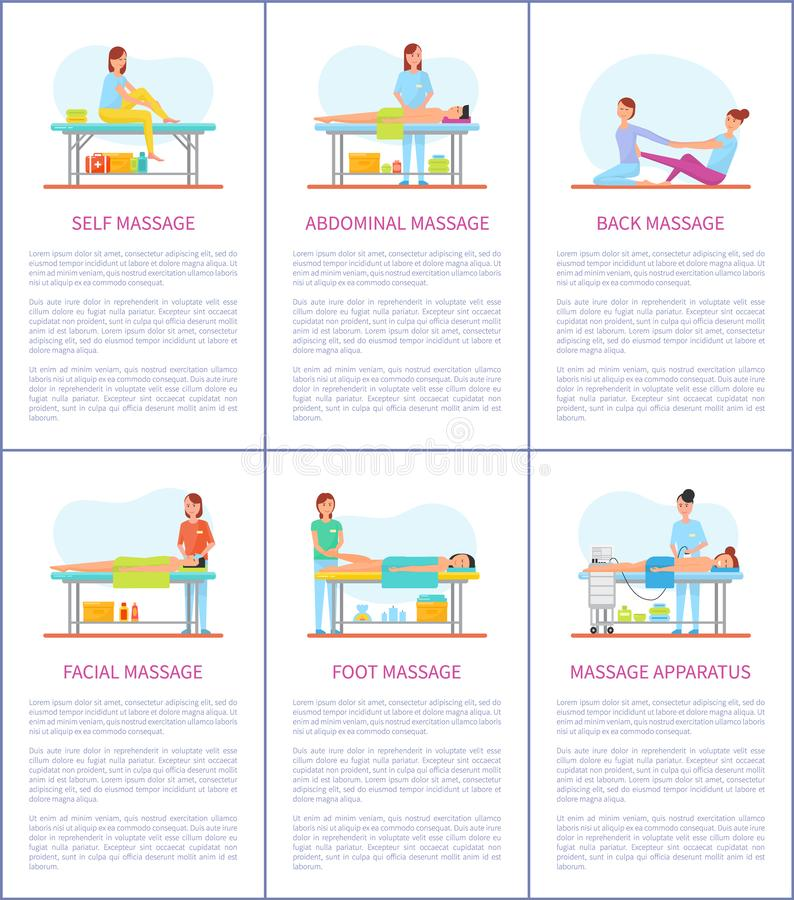 Facial and Self Massage Care Posters Set Vector. Facial and self massage, abdominal and belly care. Posters set with text, people relaxing on table of masseuse stock illustration