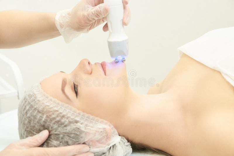 Facial spa cosmetology procedure. Skin care lift anti age.  royalty free stock image