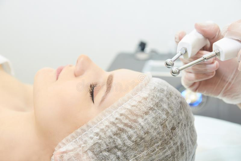 Facial spa cosmetology procedure. Skin care lift anti age.  stock photos