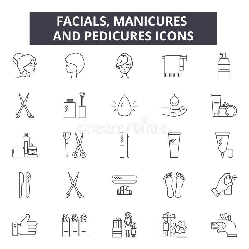 Facials, manicures en pedicureslijnpictogrammen voor Web en mobiel ontwerp De tekens van de Editableslag Facials, manicures en vector illustratie