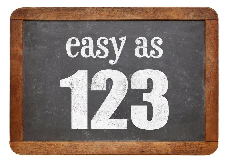 Facile come segno di 123 lavagne immagini stock