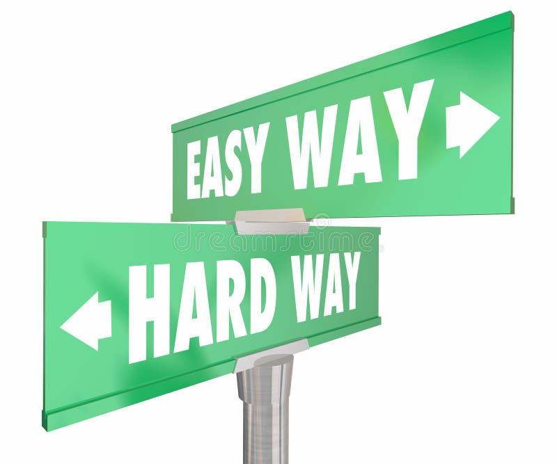 Facile contro il modo duro 2 dei segnali stradali di modo due illustrazione vettoriale