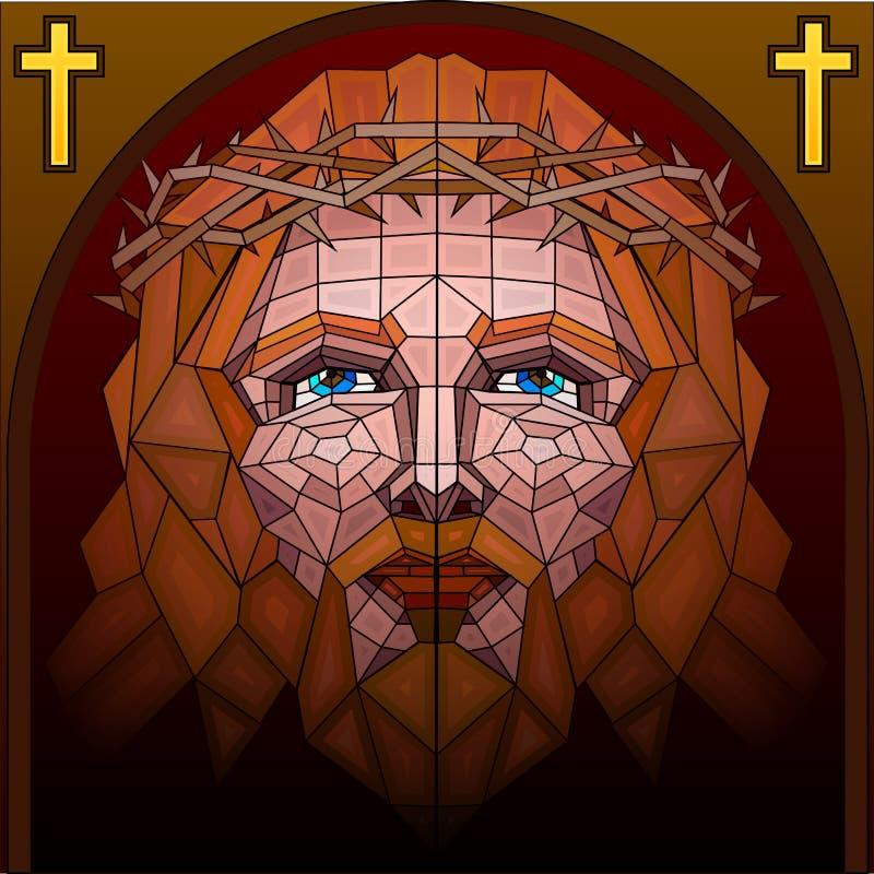 Peinture en verre souillé de Jésus-Christ illustration libre de droits