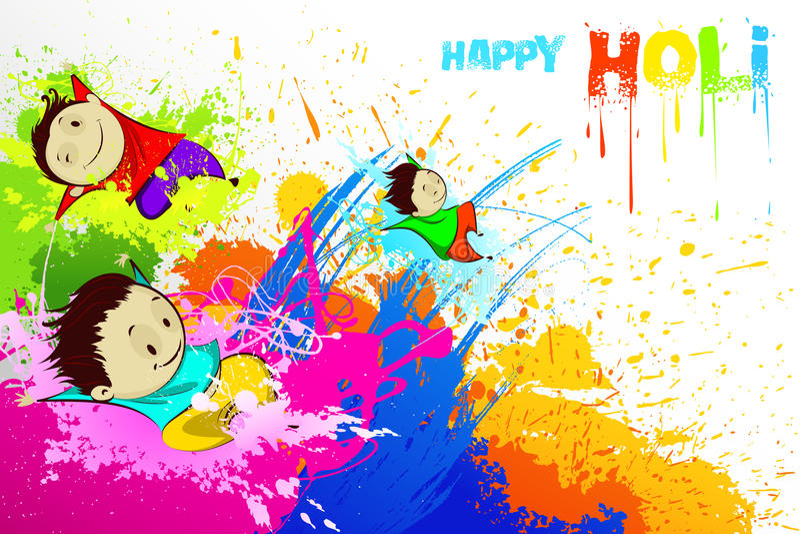 Bambini che godono di Holi illustrazione di stock