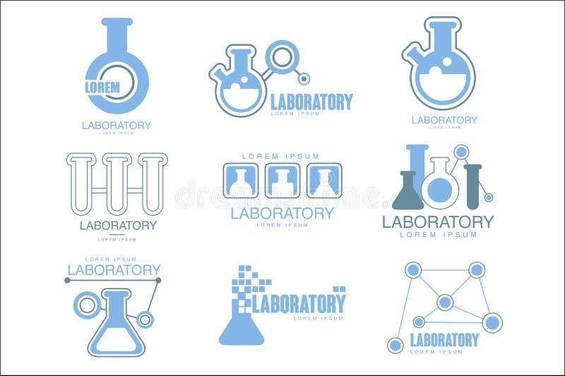 Facilidade qu?mica Logo Graphic Design Templates Set do laborat?rio na luz - cor azul com silhuetas dos tubos de ensaio ilustração stock