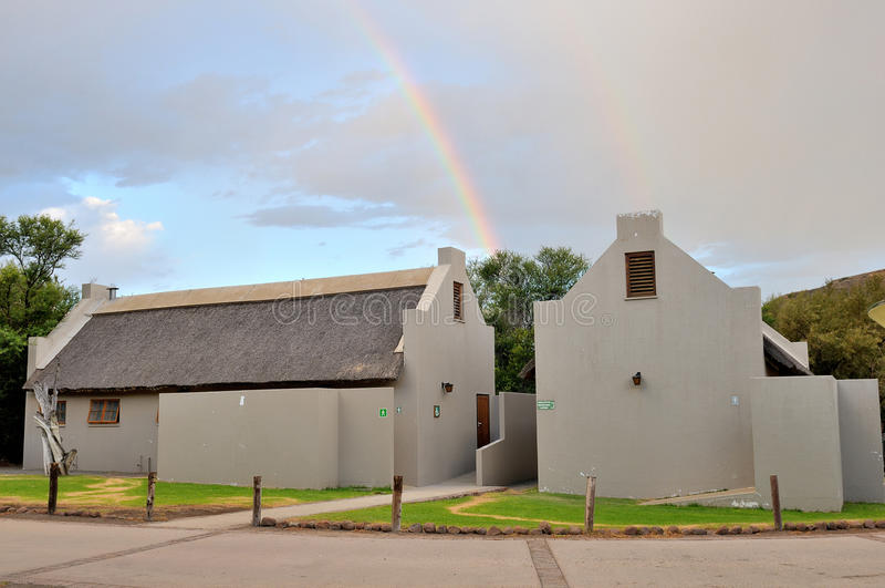 Facilidades da ablução no local de acampamento no parque nacional do Karoo foto de stock royalty free