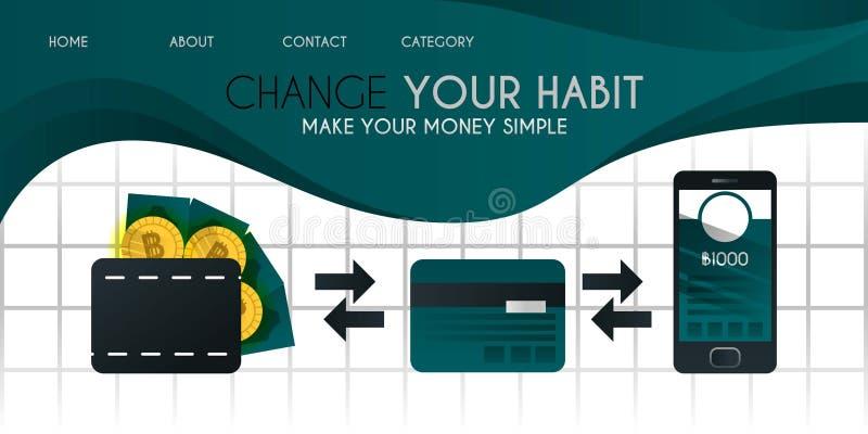 Facilite seus dinheiro e bitcoin com um crédito ou um cartão de crédito e mais facilmente com a ilustração cashless c do vetor da ilustração stock