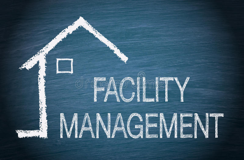 Facility Management. House or Home with text on blue background stock photography