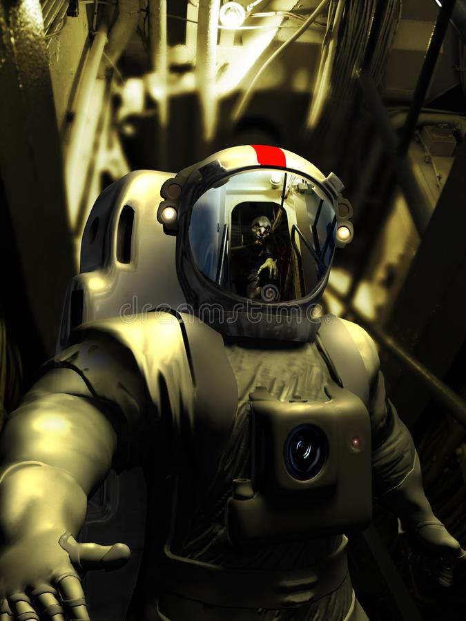 Facing the alien. Inside the corridors of a spaceship, an cosmonaut finds himself face to face with an alien monster reflected in his helmet stock illustration