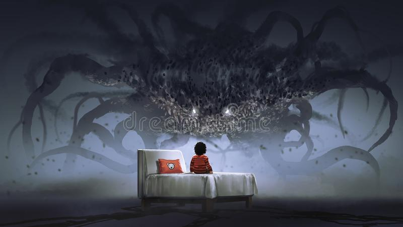 Facing a nightmare monster stock illustration
