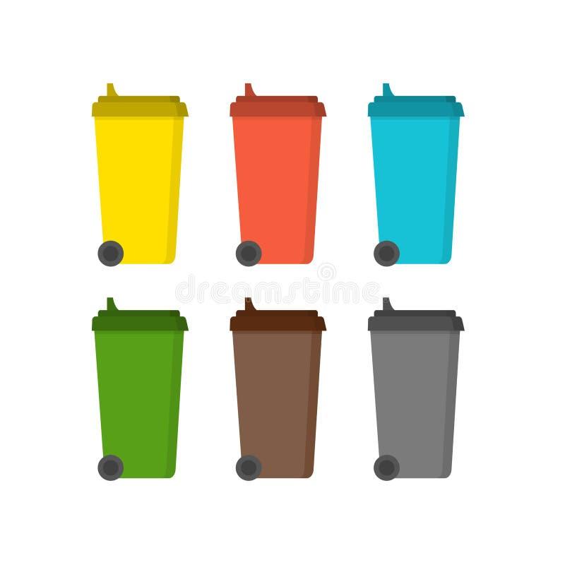 Fack för att sortera avfalls i plan design stock illustrationer
