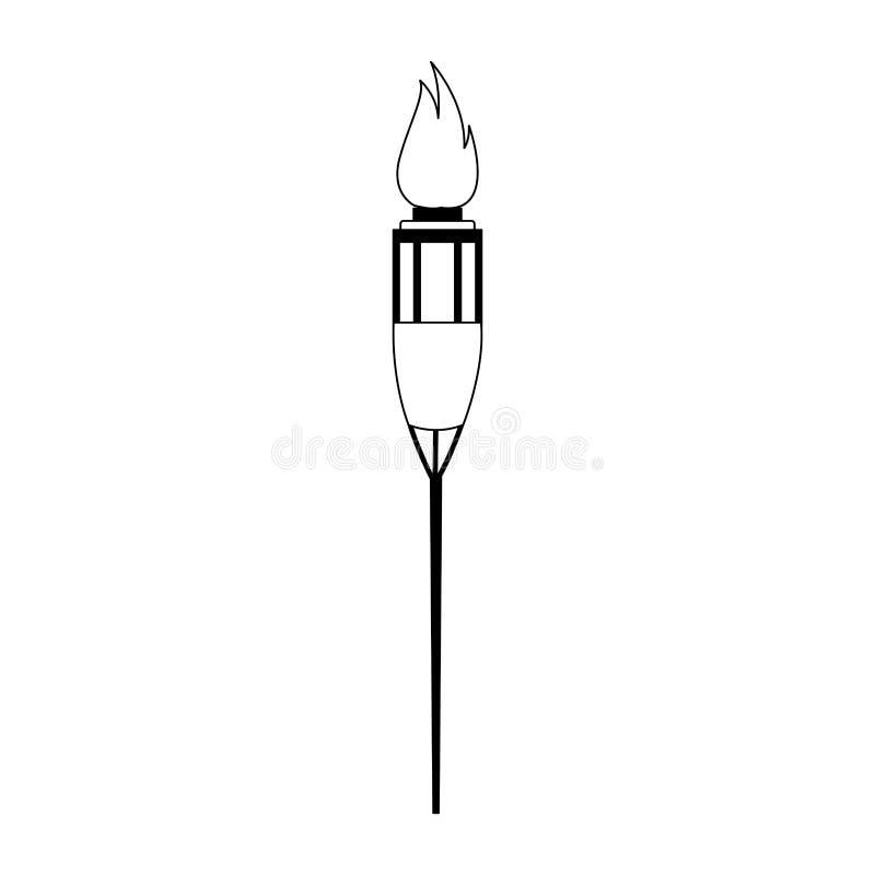 Fackel auf dem Feuer lokalisiert in Schwarzweiss vektor abbildung