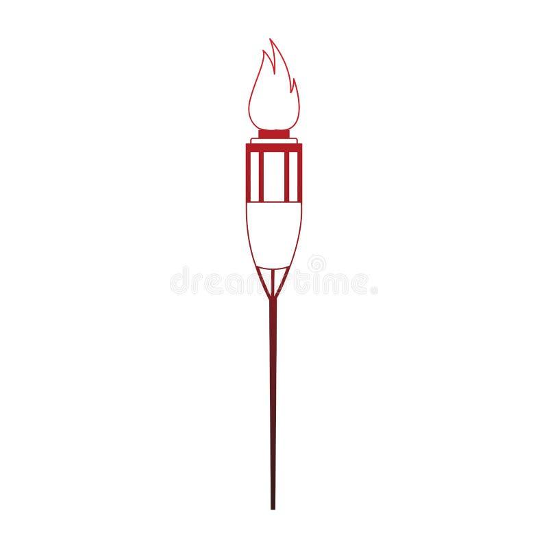 Fackel auf Feuer lokalisierten roten Linien vektor abbildung