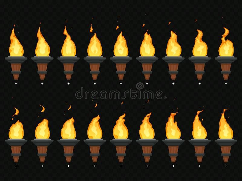 Fackelfeueranimation Brennender Cresset, Flammen auf Fackeln und Flambeau lebhafte Schleifenreihenfolge lokalisierten Vektorsatz vektor abbildung