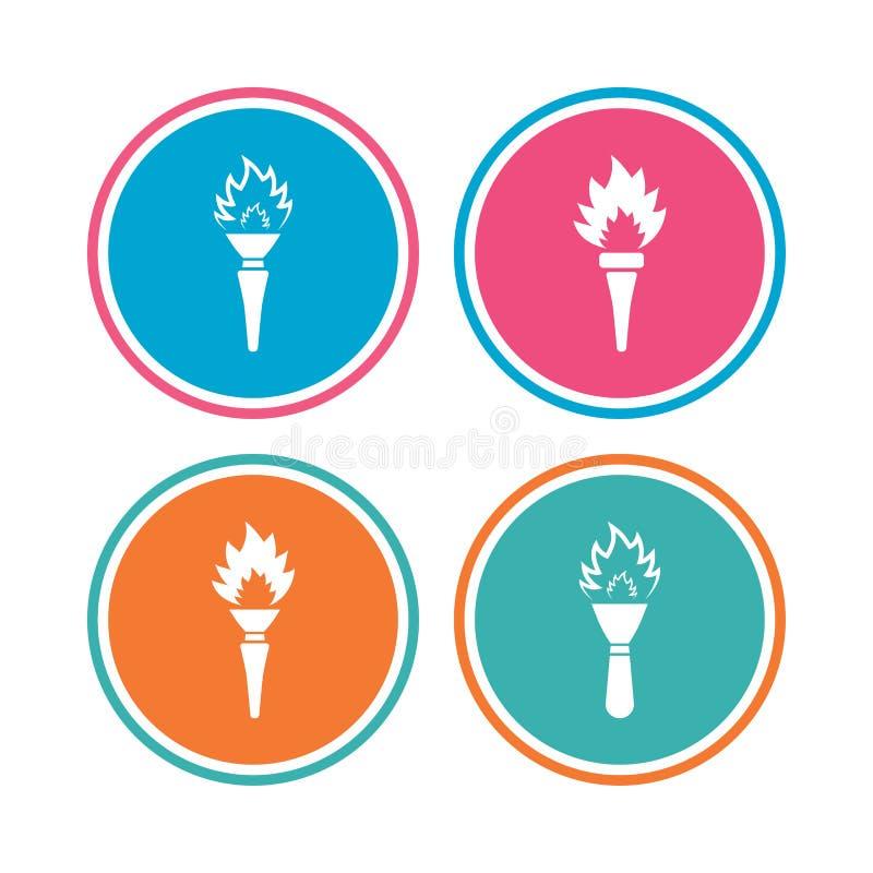 Fackelflammenikonen Lodernde Symbole des Feuers vektor abbildung