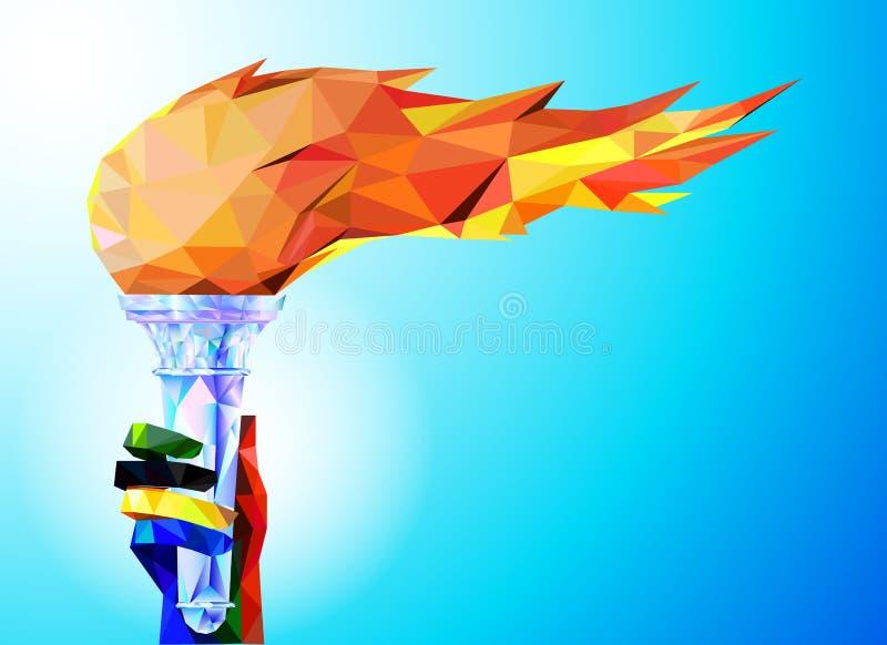 Fackla flamma En hand från de olympiska banden rymmer koppen med en fackla på en blå bakgrund i en geometrisk triangel av XXIII v stock illustrationer
