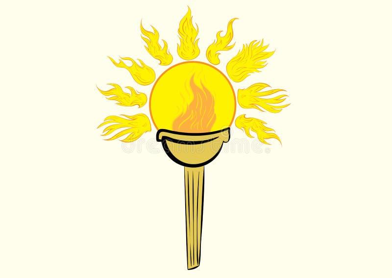 Fackla med solen stock illustrationer