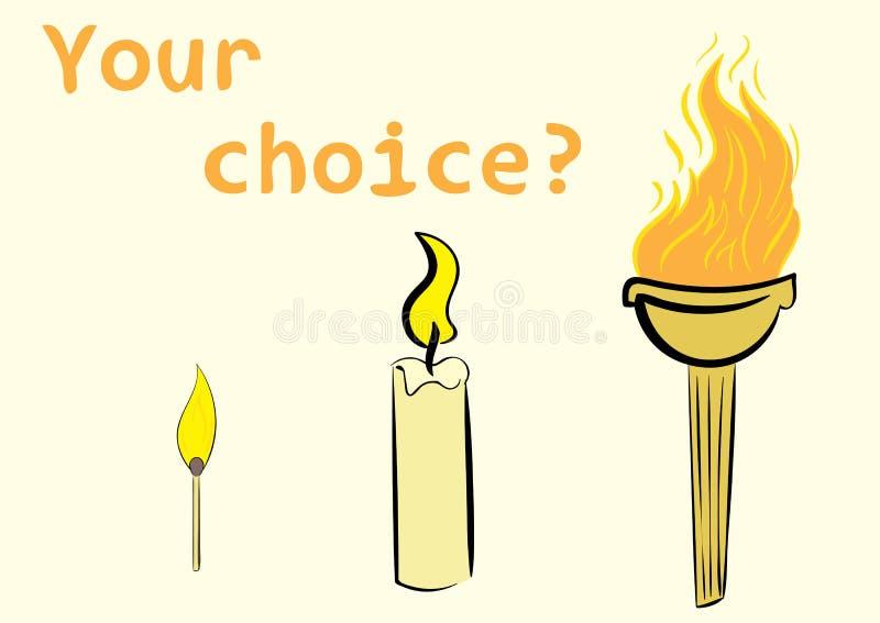 Facklastearinljus och matchstick stock illustrationer