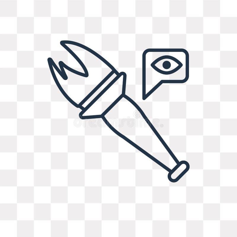 Facklavektorsymbol som isoleras på genomskinlig bakgrund, linjär Tor vektor illustrationer