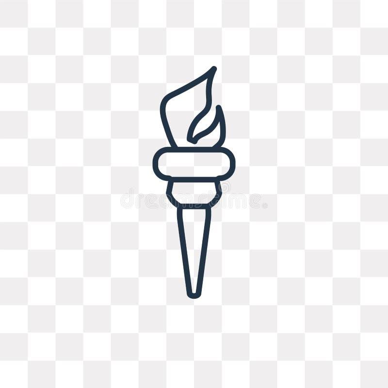 Facklavektorsymbol som isoleras på genomskinlig bakgrund, linjär Tor stock illustrationer
