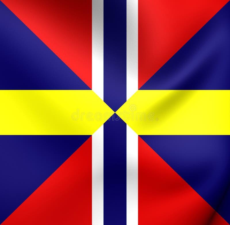 Facklig sjö- stålar och diplomatisk flagga av Sverige och Norge vektor illustrationer