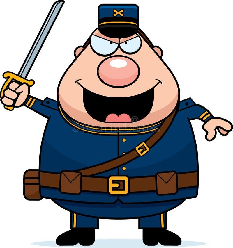 Facklig soldat för ilsken tecknad film royaltyfri illustrationer
