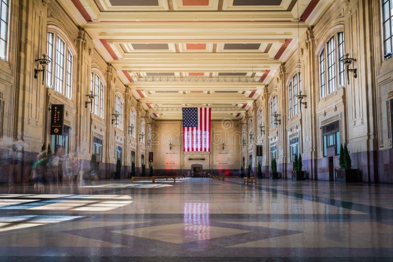 Facklig station med amerikanska flaggan royaltyfri fotografi