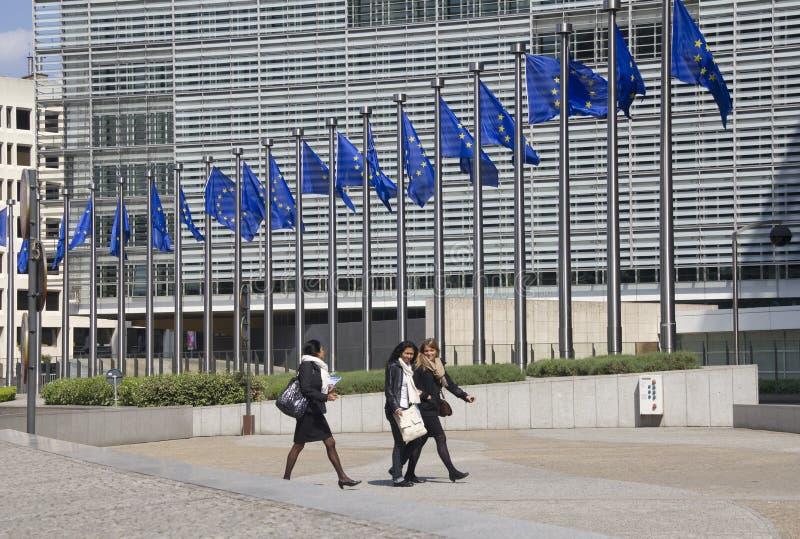 fackliga brussels europeiska flaggor arkivfoto