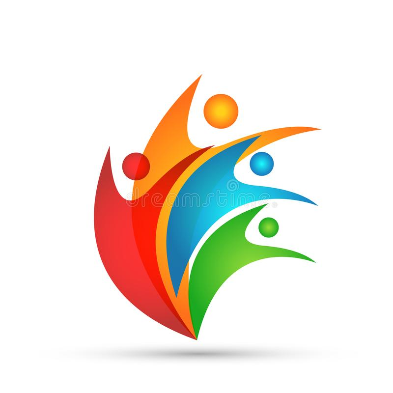 Fackligt lagarbete för folk som firar design för logo för beståndsdel för symbol för symbol för logo för happynesswellnessberöm s royaltyfri illustrationer