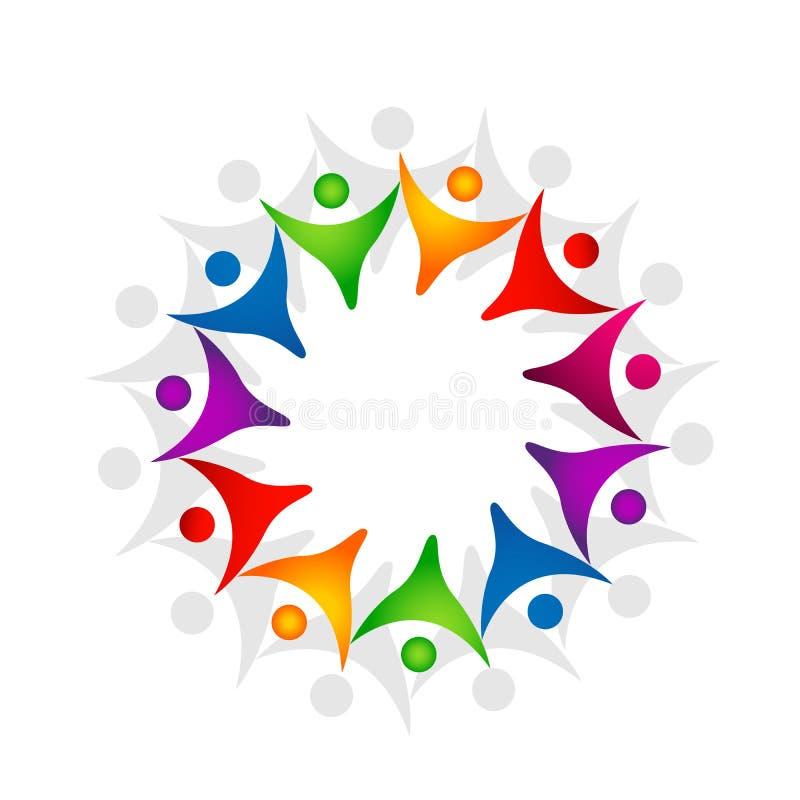 Fackligt lagarbete f?r folk som firar design f?r logo f?r best?ndsdel f?r symbol f?r symbol f?r logo f?r lyckawellnessber?m sund  stock illustrationer
