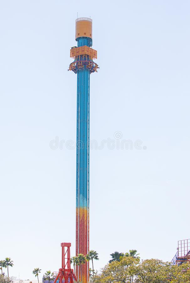 Falcon`s Fury, Busch Gardens. Falcon`s Fury at Busch Gardens in Tampa Florida, is North America`s tallest free-standing drop tower, at 335 feet high stock photos