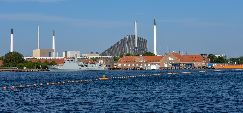 Facotry Plant along sea in Copenhagen, Denmark stock image