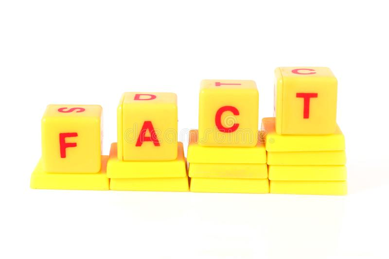Fact. Concept shot of fact on white background stock photos