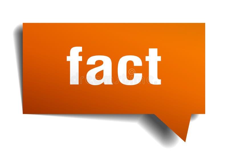 Fact 3d mowy pomarańczowy bąbel ilustracja wektor