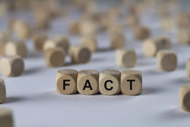 Fact - sześcian z listami, znak z drewnianymi sześcianami fotografia stock