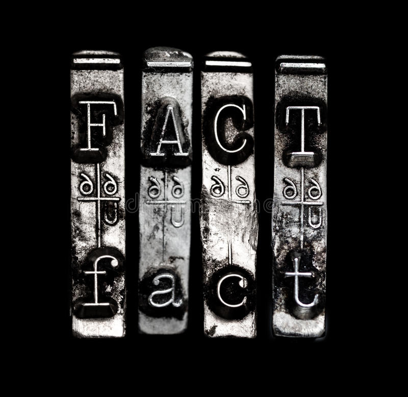 Fact. Word in type on black royalty free stock photography