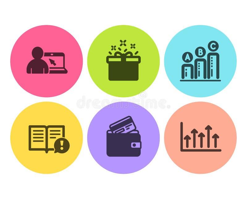 Fact, wykres mapa i Online edukacji ikony ustawiaj?cy, Karty debetowej, oferty specjalnej i Wzrostowej mapy znaki, wektor royalty ilustracja