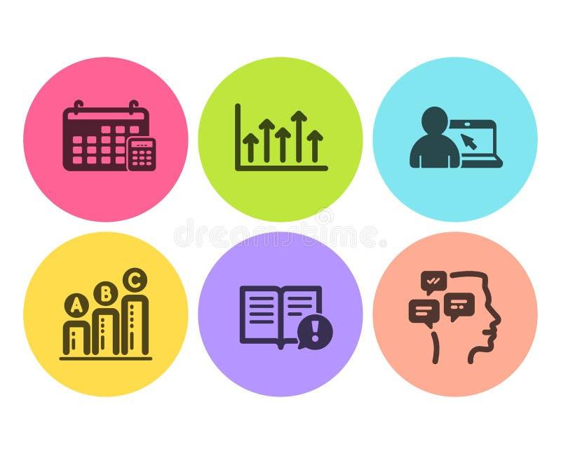 Fact, wykres mapa i Online edukacji ikony ustawiaj?cy, Wzrostowa mapa, znaki, kalendarza i wiadomości wektor royalty ilustracja