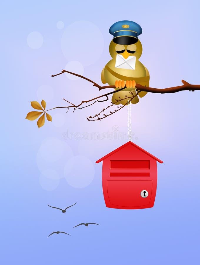 Facteur d'oiseau sur des branches illustration libre de droits