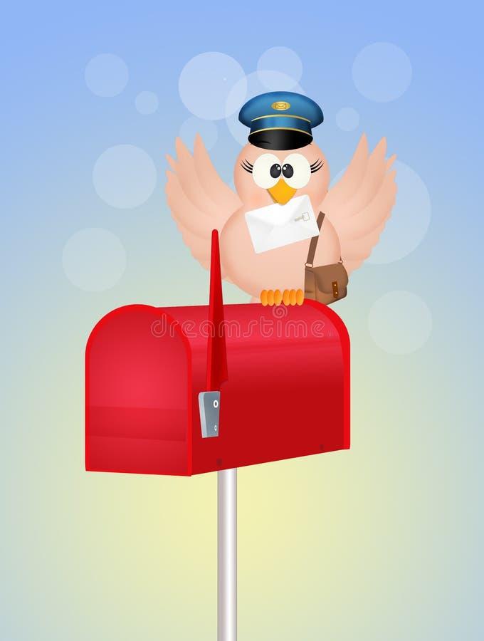 Facteur d'oiseau sur la boîte aux lettres illustration de vecteur
