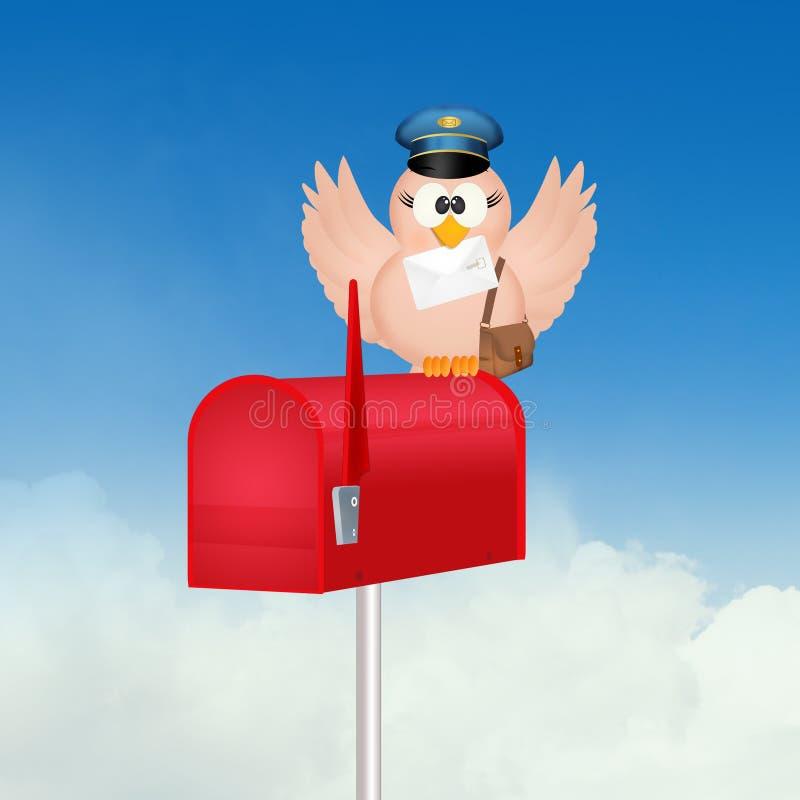 Facteur d'oiseau sur la boîte aux lettres illustration stock