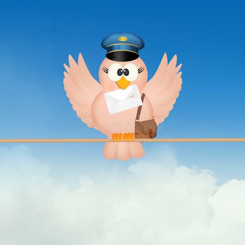 Facteur d'oiseau sur le fil illustration stock