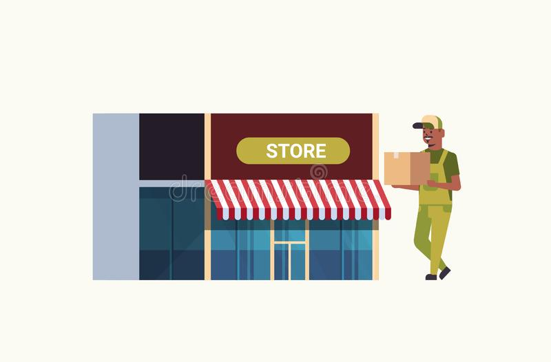 Facteur dans le magasin moderne de transport uniforme de concept de service de livraison express de messager d'afro-américain de  illustration de vecteur