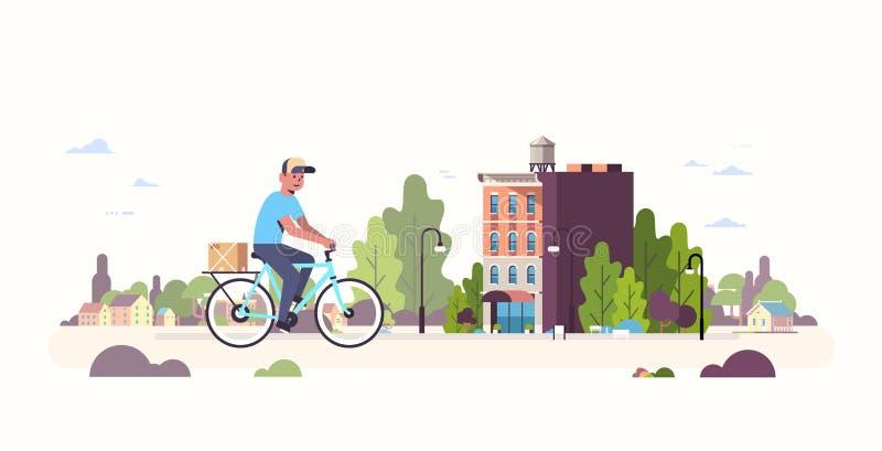 Facteur dans le messager de transport de monte uniforme de boîte de colis de carton de bicyclette faisant un cycle dehors le serv illustration de vecteur