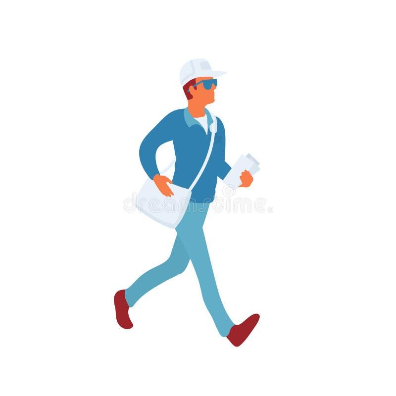 Facteur dans les promenades uniformes avec le sac et le courrier de messager à livrer illustration de vecteur