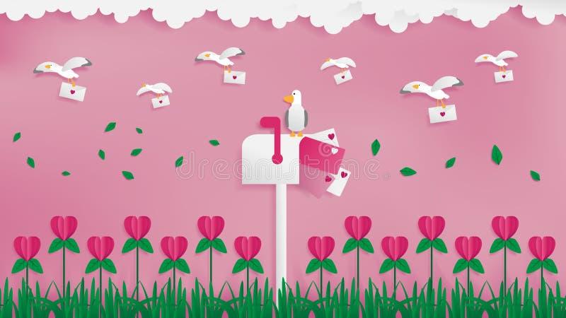Facteur de mouettes envoyant le courrier d'amour illustration libre de droits