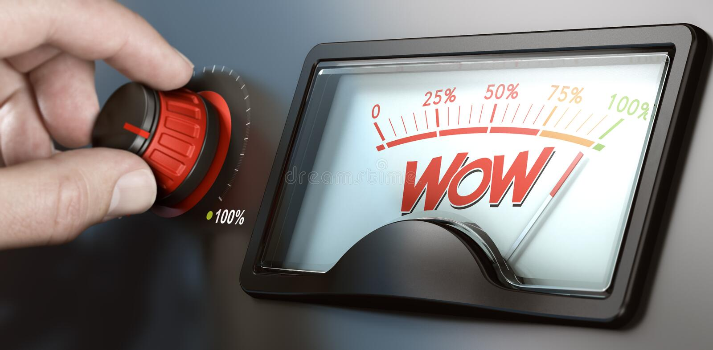 Facteur de wow ou effet, concept efficace de communication illustration de vecteur